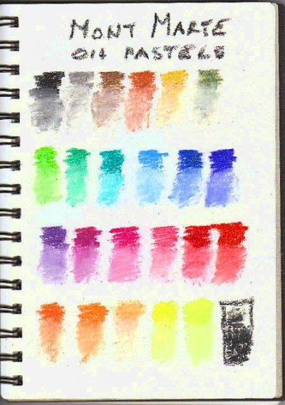 Color Chart for 24 Mont Marte oil pastels