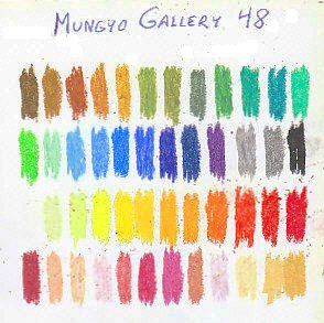 Color chart of 48 Mungyo Gallery oil pastels on white sketchbook paper.