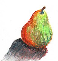 Pear sketch in Niji oil pastels on ProArt sketchbook paper by Robert A. Sloan.