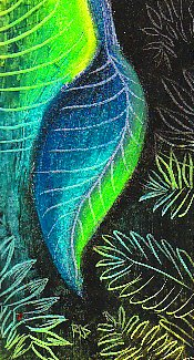 leaf, sgraffito, oil pastels, portfolio watersoluble oil pastels, blending