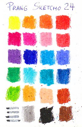 Color chart of 24 Prang Sketcho oil pastels.