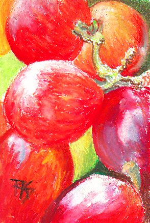 Red Grapes by Robert A. Sloan, light green grapes in background, pale highlights.