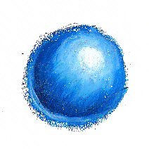Blue ball painted in oil pastels with shape defined by shading.